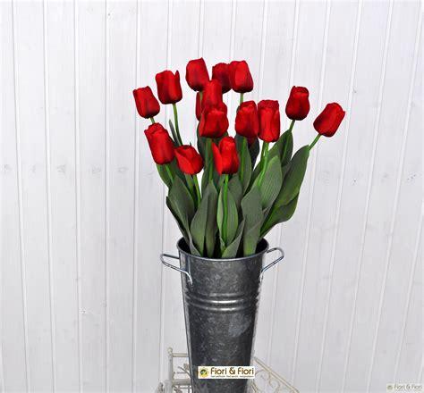 tulipano fiore fiore artificiale tulipano rosso in tessuto satinato per