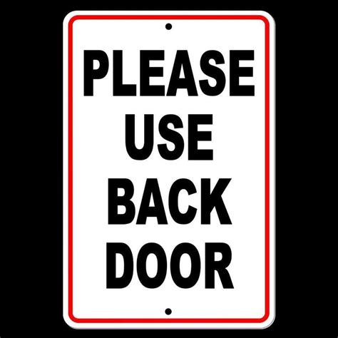 Please Use Back Door Printable Sign