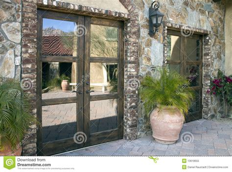 italian villa entrance  courtyard plaza stock image