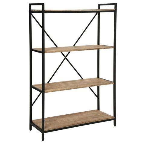table de cuisine pas chere étagère industriel 4 étages en bois et métal edena l 90xl 35xh 141cm