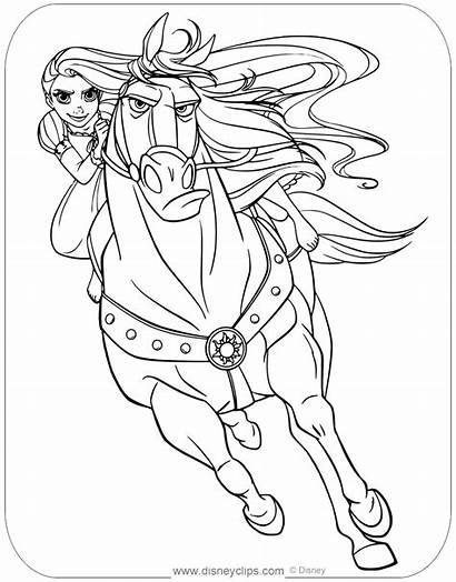 Rapunzel Tangled Coloring Maximus Pages Disneyclips Disney
