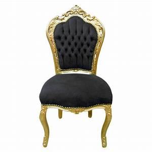 Chaise Style Baroque : chaise de style baroque rococo tissu velours noir et bois dor ~ Teatrodelosmanantiales.com Idées de Décoration