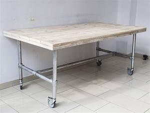 Tisch Rollen Klappbar : esstisch im industriedesign mit rollen tisch mit tischbeinen aus metall l nge 200 cm ~ Markanthonyermac.com Haus und Dekorationen