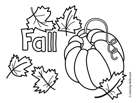 Autumn Coloring Pages With Pumpkin For Kids, Seasons