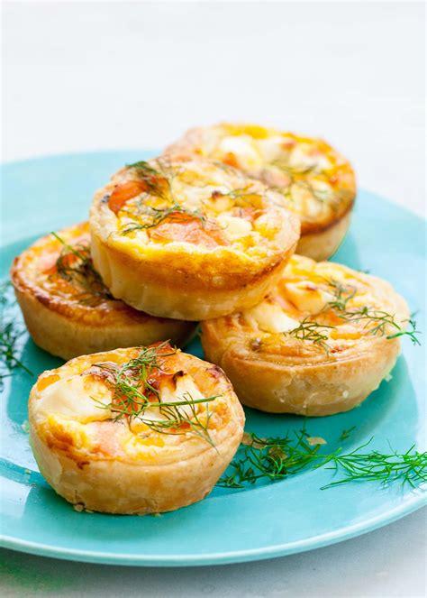 freeze ahead canapes recipes mini salmon quiches recipe simplyrecipes com
