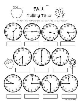 fall telling time to the quarter hour practice worksheet