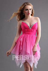 Robe Bal De Promo Courte : sexy robe de bal courte en mousseline rose bonbon d grad ~ Nature-et-papiers.com Idées de Décoration