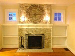 Living Room with Brick Fireplace Remodels