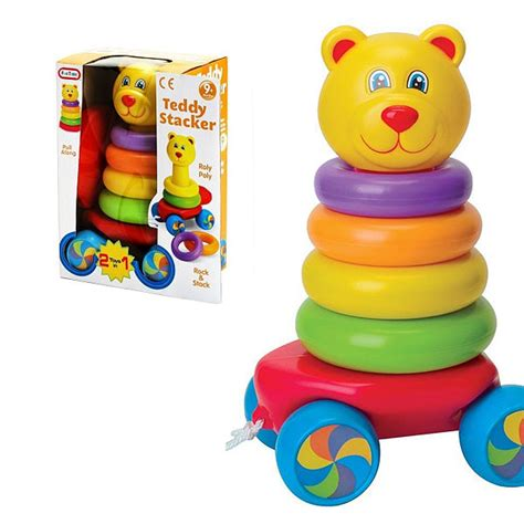 momo funtime stacker time alami baby activity toys time pull along teddy stacker