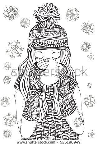 winter girl gifts winter snowflakes adult stock vector
