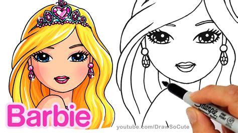 draw barbie portrait pretty girl face youtube