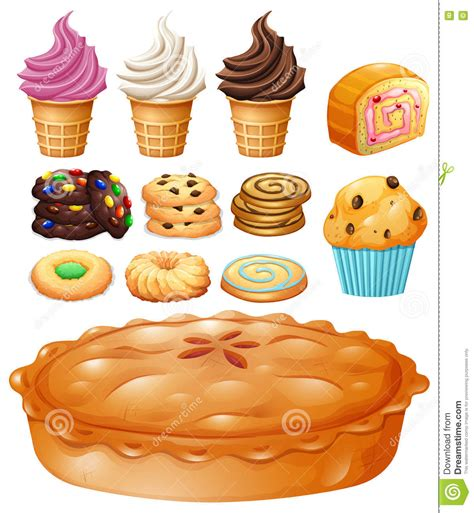 set of many types of desserts stock vector image 74581795