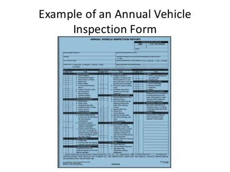 dot annual vehicle inspection form vehicle inspection