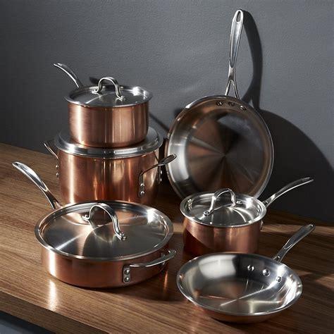 calphalon tri ply copper  piece cookware set crate  barrel copper cookware set