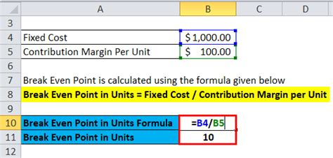break  analysis formula calculator excel template