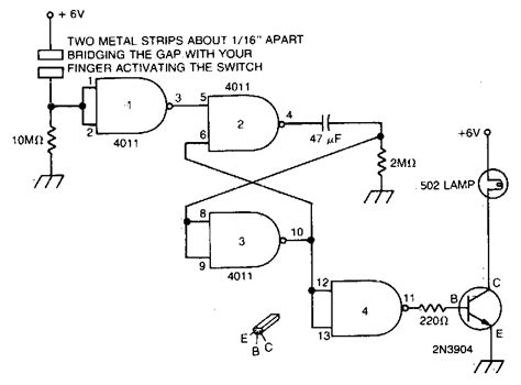 Simple Capacitance Operated Battery Powered Light Circuit