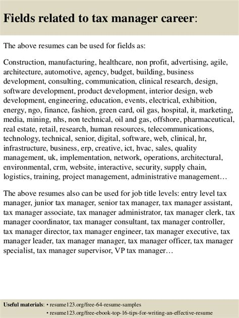 top 8 tax manager resume sles