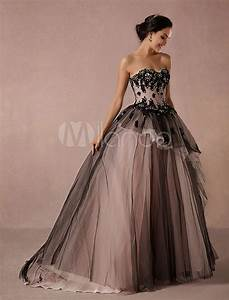 black wedding dress lace tulle chapel train bridal gown With robe dentelle beige