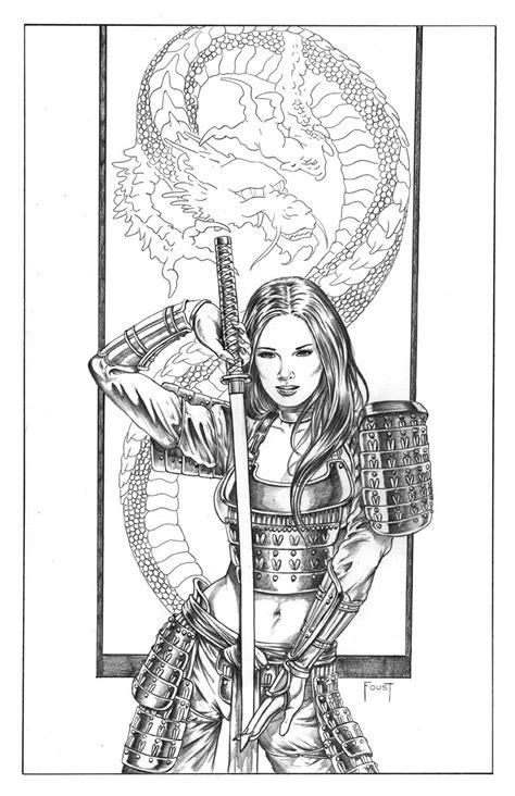 mitch foust art ,female knight | Female Samurai Sketch samurai girl, in mitch foust's sold comic