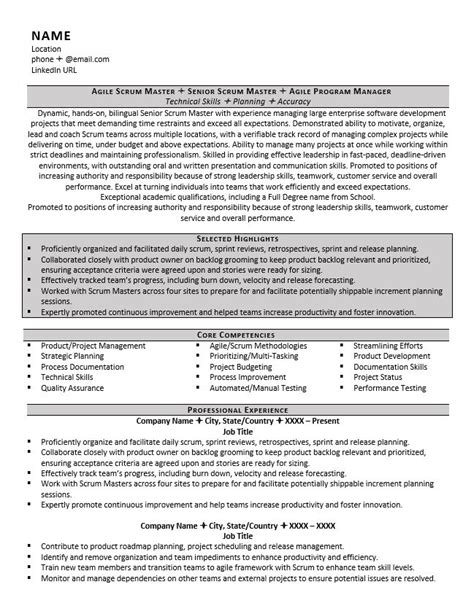 Agile Methodology Resume Points by Scrum Master Resume Exle Tips For 2017 Zipjob
