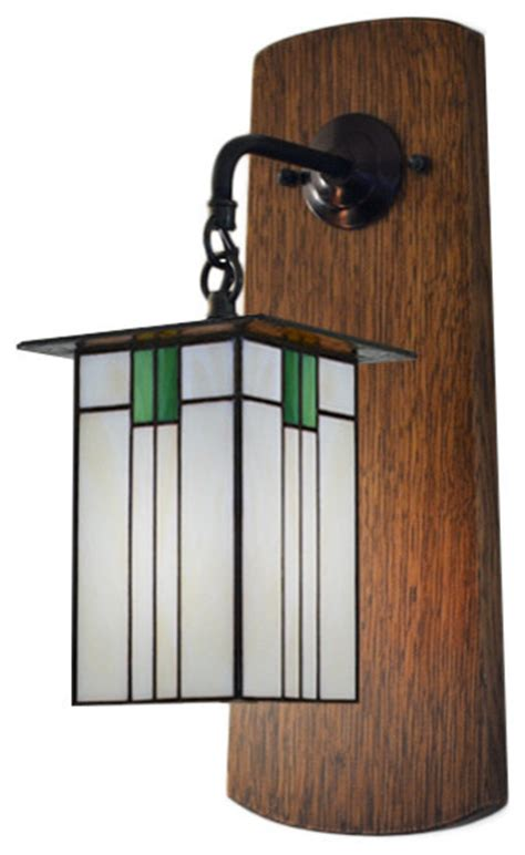 wall sconce arts crafts style oak and stain glass