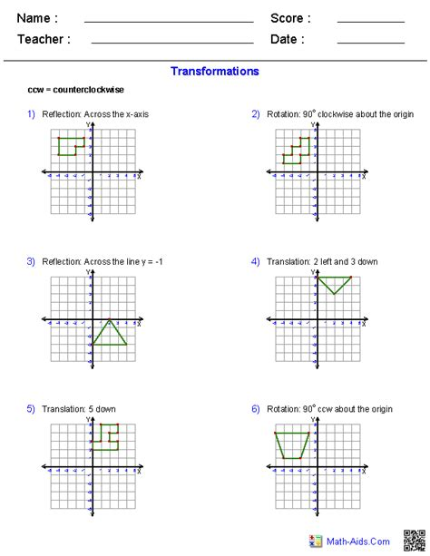 transformation worksheets grade 5 geometry worksheets transformations worksheets