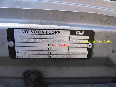 the paint code for black metallic volvo owners