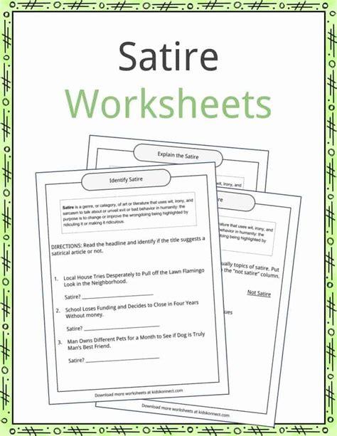 free satire worksheet goodsnyc