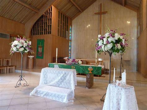 church flower stands white hydrangeas purple dendrobium