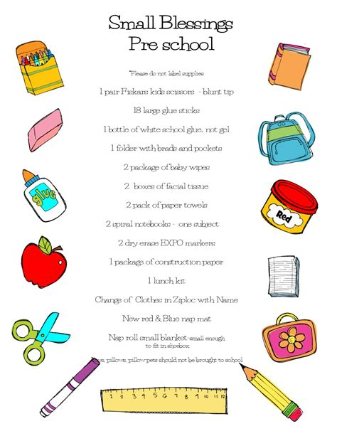 school supply list for preschool school supply list school supply list 744