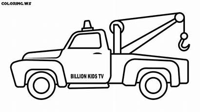 Tow Coloring Truck Pages Drawing Flatbed Cars