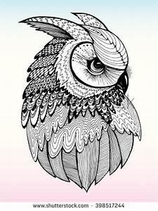 Portrait of an owl. Owls Head. Abstract bird. Print ...
