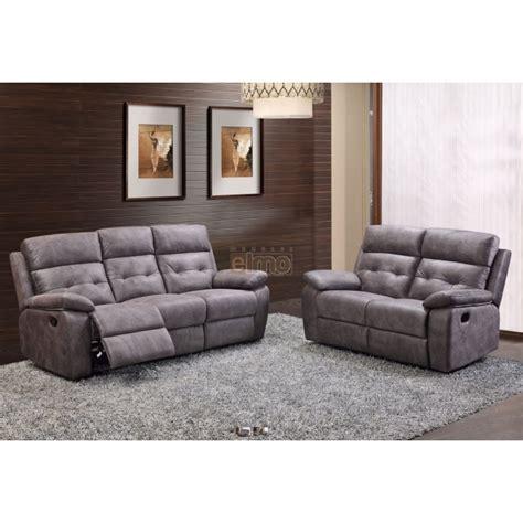 canap 233 2 places relax milord tissu gris haut de gamme