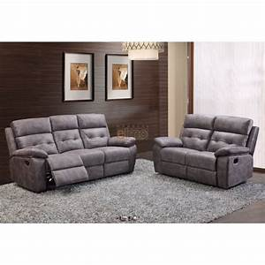 Canape 2 places relax milord tissu gris haut de gamme for Canapé relax tissu 2 places