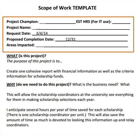 7+ Construction Scope Of Work Templates  Word Excel Pdf