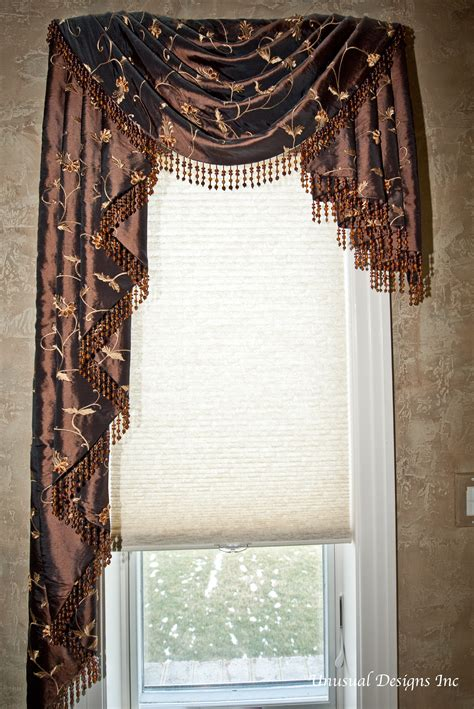 Asymmetrical Swag And Cascade Valance With Beaded Trim