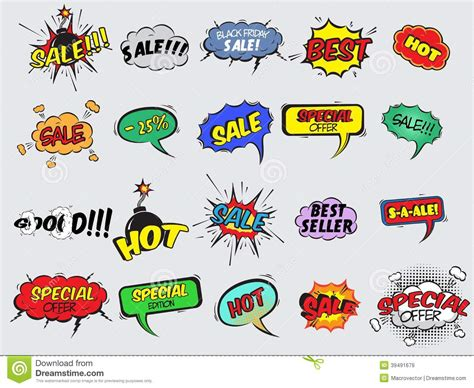 comic sale explosion icons stock vector illustration