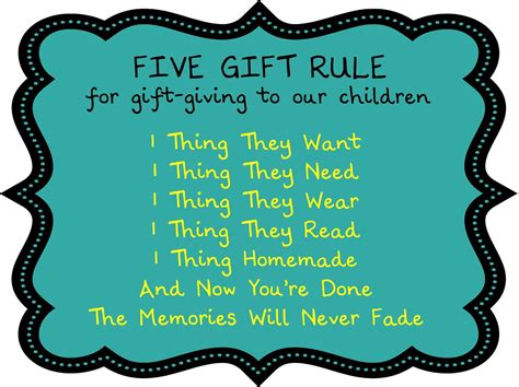 The Five Gift Rule...love Love Love The 1 Thing Homemade! So Doing This For Our Grandma Joke Gifts Catholic Baptism Uk To Guests Employee Recognition Catalog Canada Crochet Pillow Ideas Picture Christmas Running And Wine Popcorn With Free Shipping