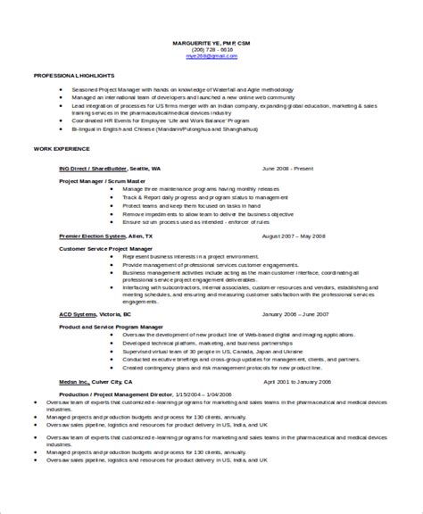 Agile Scrum Master Resume by Sle Scrum Master Resume 8 Exles In Pdf
