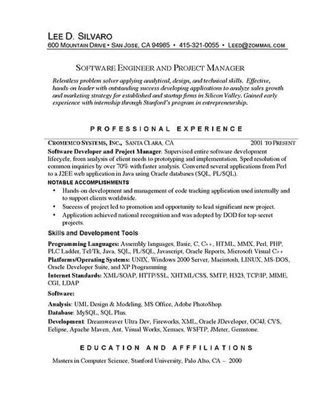 Software Developer Professional Summary by Software Manager Resume Exles Manager Resume