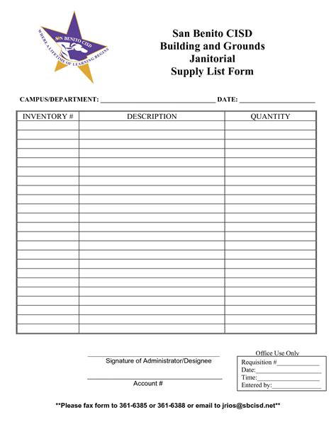 office supply list form