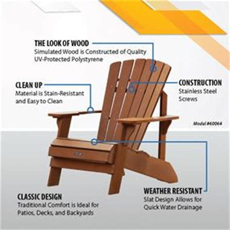 lifetime faux wood adirondack chair light