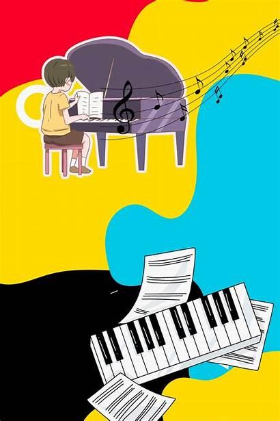 Cartoon Piano Psd Enrollment Layered Teaching Poster