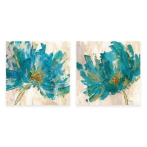 contemporary teal flower canvas wall art bed bath