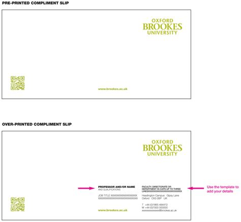 compliments slips oxford brookes university
