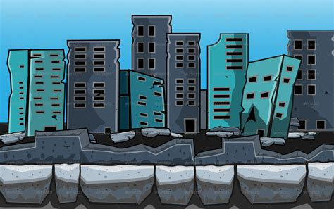 destroyed city game background  pasilan graphicriver