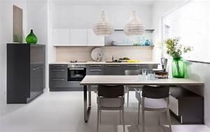 Cuisine blanc laque et gris for Idee deco cuisine avec cuisine laqué gris anthracite