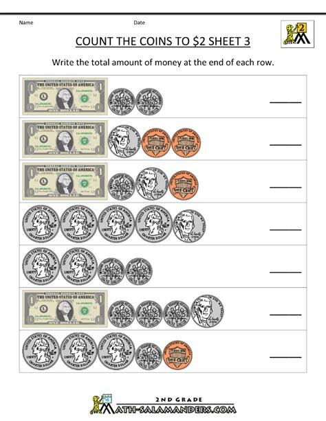 counting money worksheets count the coins to 2 dollars 3
