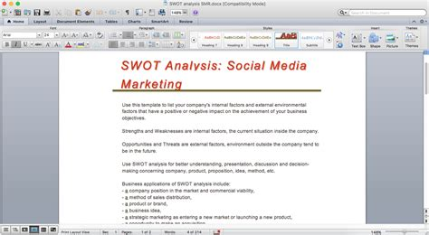 swot analysis   word document