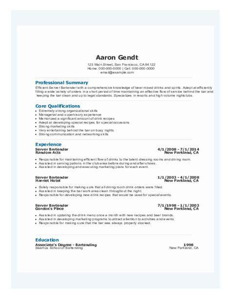 bartender resume sles free templates in pdf